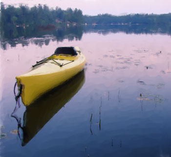 Kayak on Placid Pond by Jake Richter